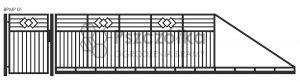 Nowoczesna brama przesuwna panelowa metalowa z profili poziomych pionowych BPMP01