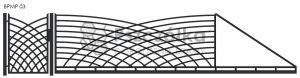Nowoczesna brama przesuwna panelowa metalowa z profili poziomych pionowych BPMP03