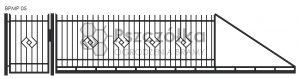 Nowoczesna brama przesuwna panelowa metalowa z profili poziomych pionowych BPMP05