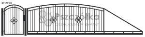 Nowoczesna brama przesuwna panelowa metalowa z profili poziomych pionowych BPMP06