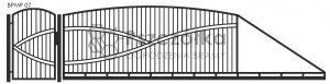 Nowoczesna brama przesuwna panelowa metalowa z profili poziomych pionowych BPMP07