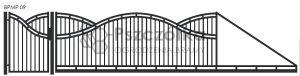 Nowoczesna brama przesuwna panelowa metalowa z profili poziomych pionowych BPMP09
