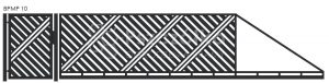 Nowoczesna brama przesuwna panelowa metalowa z profili poziomych pionowych BPMP10