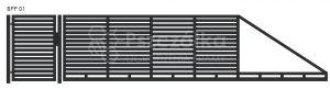 Nowoczesna brama przesuwna panelowa metalowa z profili poziomych pionowych BPP01