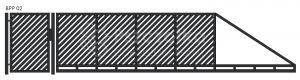 Nowoczesna brama przesuwna panelowa metalowa z profili poziomych pionowych BPP02