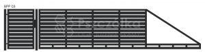 Nowoczesna brama przesuwna panelowa metalowa z profili poziomych pionowych BPP03