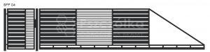 Nowoczesna brama przesuwna panelowa metalowa z profili poziomych pionowych BPP04