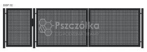 Nowoczesna brama panelowa z blachy perforowanej BSBP02