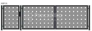 Nowoczesna brama panelowa z blachy perforowanej BSBP03