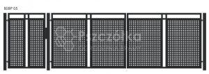 Nowoczesna brama panelowa z blachy perforowanej BSBP05