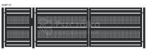 Nowoczesna brama panelowa z blachy perforowanej BSBP07