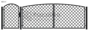 Nowoczesna Brama kuta uchylna skrzydłowa z profili metalowych BSK01