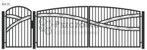 Nowoczesna Brama kuta uchylna skrzydłowa z profili metalowych BSK02