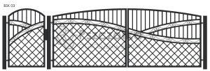 Nowoczesna Brama kuta uchylna skrzydłowa z profili metalowych BSK03