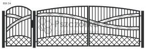 Nowoczesna Brama kuta uchylna skrzydłowa z profili metalowych BSK04