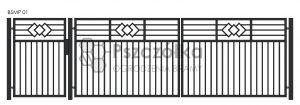 Nowoczesna Brama uchylna skrzydłowa z profili metalowa palisada pozioma pionowa BSMP01
