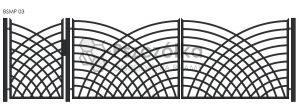Nowoczesna Brama uchylna skrzydłowa z profili metalowa palisada pozioma pionowa BSMP03