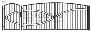 Nowoczesna Brama uchylna skrzydłowa z profili metalowa palisada pozioma pionowa BSMP07