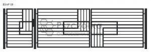 Nowoczesna Brama uchylna skrzydłowa z profili metalowa palisada pozioma pionowa BSMP08