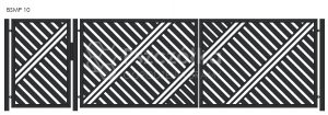 Nowoczesna Brama uchylna skrzydłowa z profili metalowa palisada pozioma pionowa BSMP10