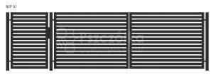 Nowoczesna Brama panelowa uchylna skrzydłowa z profili metalowa palisada pozioma pionowa BSP01