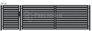 Nowoczesna Brama panelowa uchylna skrzydłowa z profili metalowa palisada pozioma pionowa BSP03