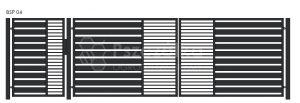 Nowoczesna Brama panelowa uchylna skrzydłowa z profili metalowa palisada pozioma pionowa BSP04