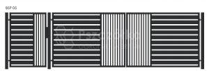 Nowoczesna Brama panelowa uchylna skrzydłowa z profili metalowa palisada pozioma pionowa BSP05
