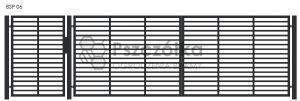 Nowoczesna Brama panelowa uchylna skrzydłowa z profili metalowa palisada pozioma BSP06