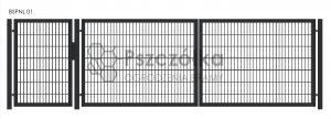 Nowoczesna Brama panelowa dwuskrzydłowa 4m 5m 6m z furtką uchylna skrzydłowa BSPNL01